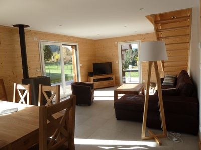 Photo for Great new chalet south facing comfortable, sauna, terrace, wifi