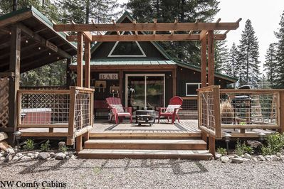 Camp David in Lake Wenatchee has an enclosed deck in case you bring your fur babies.