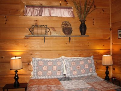 Photo for Cozy 1BR 'Real Log Cabin' w/ Hot Tub on the Linville River (sleeps 6)