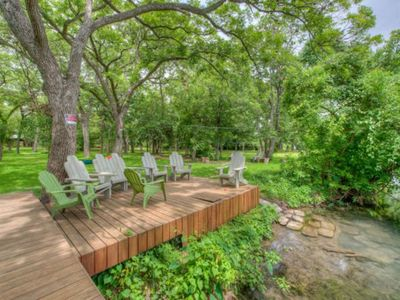Photo for Riverfront property in SMTX, huge yard and dock! Play and relax! *Sleeps 10*
