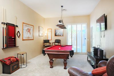 Billiards Room - Classy game room with pool table, darts, and flat screen TV.