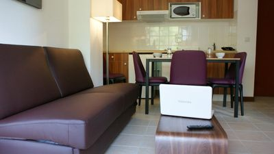 Photo for Surface area : about 18-22 m². Living room with bed-settee. Kitchenette with dishwasher, microwave