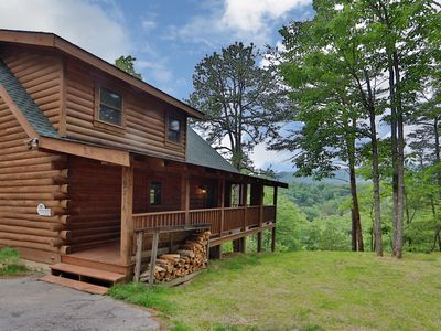 Photo for Cabin at the End of the Road, Very Private with Mtn Views, Hot Tub and Woodburning Fireplace
