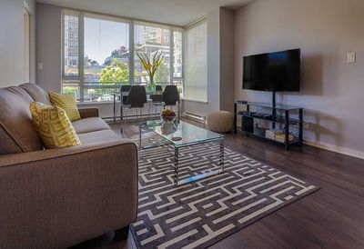 Contemporary furnishings, large screen TV