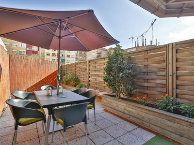Photo for Sagrada Familia Terrace apartment in Eixample Dreta with WiFi, air conditioning & private terrace.