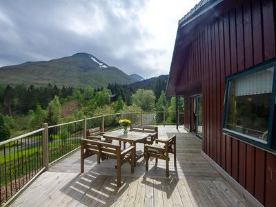 Photo for Beautiful 5 star, 2 bedroom, 2 bathroom chalet with stunning views and wood burning stove