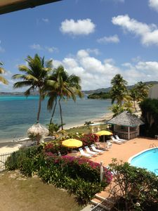 What a great view, ocean, pool, and Christiansted!