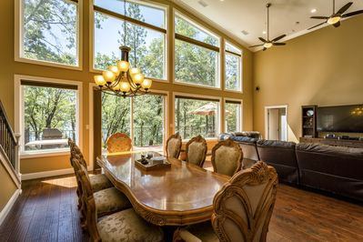 "Dining room table located in ""Great Room"" overlooking the lake!"