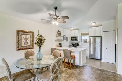 Sophisticated Open Floor Plan Living, Dining & Kitchen Area with Quartz Bar Area