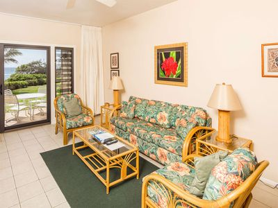 Photo for Suite Life Steps from Surf! Kitchen Ease, Lanai, WiFi, Ceiling Fans–Kaha Lani 120