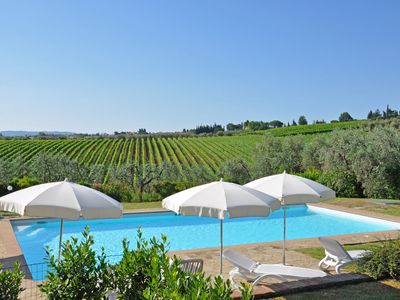 Photo for Beautiful apartment with WIFI, pool, A/C, panoramic view and parking, close to Greve In Chianti