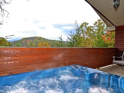 Photo for FREE ATTRACTION TICKETS, Secluded Romantic Cabin Hot Tub & Heart-Shaped Jacuzzi