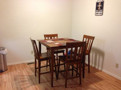 Counter height table in dining area