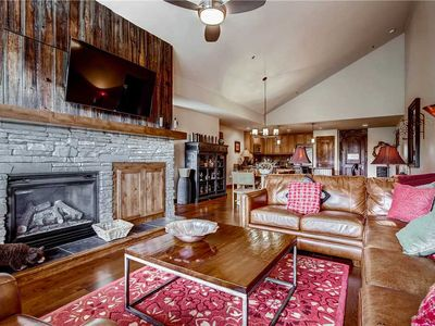 Photo for Large condo with sectional sofa, barnwood and stone fireplace, private balcony