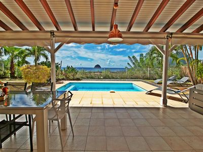 Photo for Panoramic sea view with private pool - 5min drive from the beach