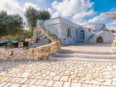 Photo for Trullo Palummieddu is ideally positioned, with sea views,