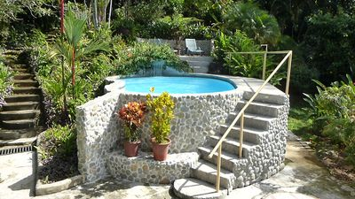 Pool from balcony, including  upper& lower patios,  stairs to the upper gardens.