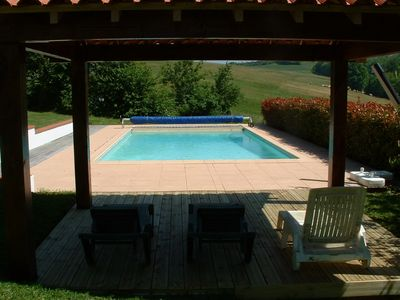 Heated Pool with electric cover and summer cover