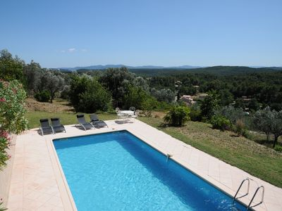 Photo for Provencal house (charming villa + pool + pool-house) quiet with panoramic views over the village of Callas in Provence