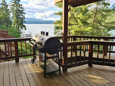 Outdoor propane and charcoal capable BBQ.  When done, ring the dinner bell!