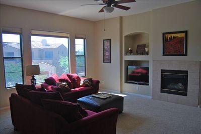 Newly Refurnished Living Room with flat screen tv,dvd, and fireplace