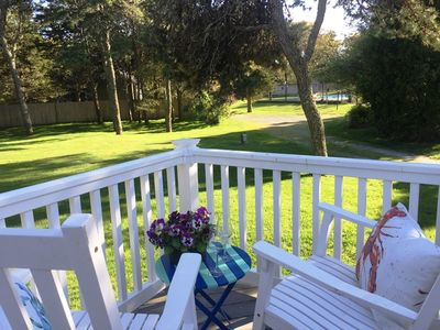 Rock the afternoon away on the back deck..767 Route 28 #5 Harwich Port Cape Cod New England Vacation Rentals