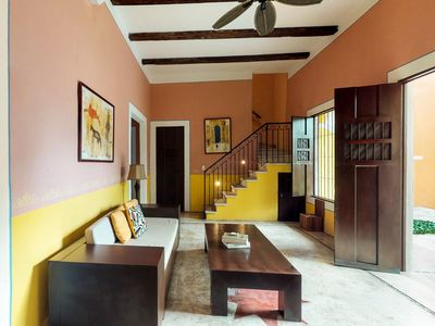 Photo for Gorgeous room for couples inside a colonial hacienda w/ shared pool & garden