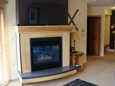 Smart LED TV and gas fireplace