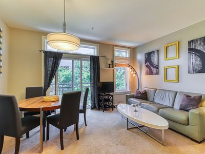 Photo for Space needle view apartment, features shared hot tub and pool!