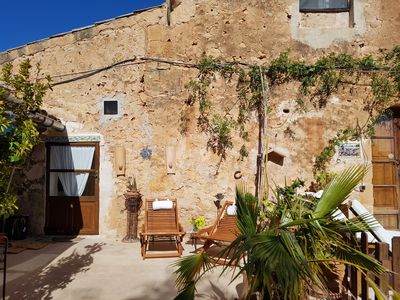 """Photo for Apartment """"Can Hobbit"""" on finca, air conditioning, 2 terraces, near Es Trenc"""