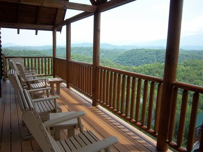 Amazing Views from Main Deck off Living room. Deck looks directly at Smoky Mountain National Park and Mt. LeConte