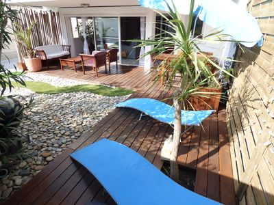 Photo for Apartment 80 m2, 20 m from the sea, with garden, furnished terrace