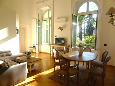 Air-conditioned living/dining room - high ceiling, period features & lovely view