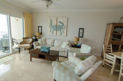 Family room overlooking the Gulf