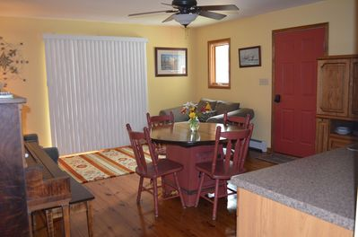 The kitchen, dining, living room.