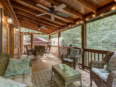 Photo for NEW LISTING! Hillside cabin w/ private hot tub, entertainment & fireplace