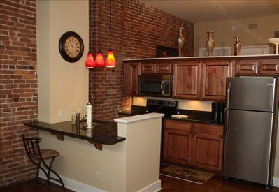 Fully functional kitchen with all the modern amenities. Save money eating here.