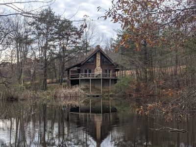 Photo for Cabin on the Pond 🌲Log cabin on private pond, Hot Tub, DirectTV🌲