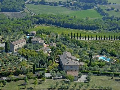 An aerial view of Argiano in Chianti with apartment units and pool