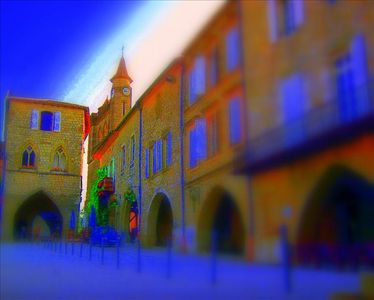The medieval square in Monflanquin, our home is just a few feet away