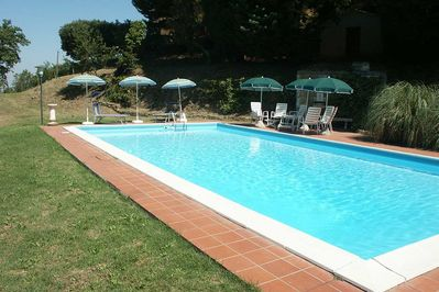 12 metre private pool with lots of sun loungers
