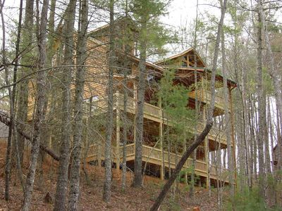 Photo for SECLUDED MTN VIEW, POOL TABLE, AIR HOCKEY, FIRE PIT, SCREENED PORCH