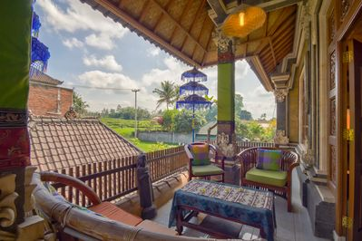Balcony or terrace overlooking to rice field