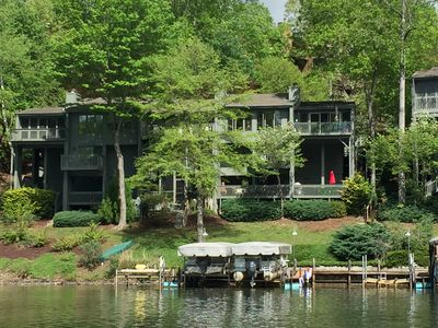 Photo for 3 Bedroom Gorgeous Lakefront Home with private dock in Rumbling Bald Resort