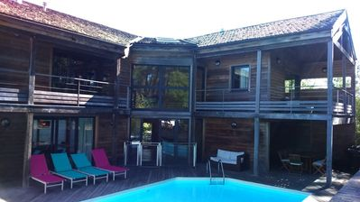 Photo for Large wooden architect villa, with private pool - Lacanau Ocean