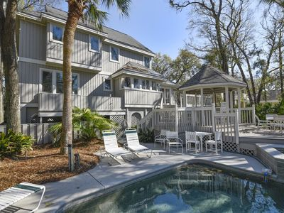 Photo for Luxurious 6 bedroom, 6.5 bath, 2nd row home bordering the beach in Palmetto Dunes with a private spa
