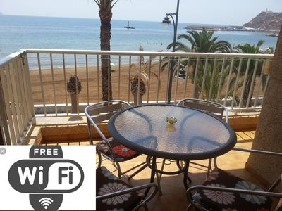 Photo for WIFI. APARTMENT WITH SEA VIEWS. FIRST LINE BEACH.  ELEVATOR, WIFI