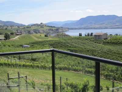 SW view of Penticton, lake Okanagan, vineyards and orchards