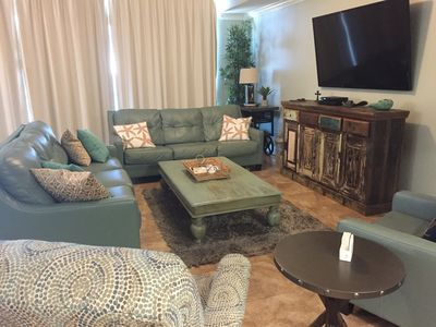 Spacious Living Room with Queen Sleeper Sofa and Recliner   Opens to Gulf Front