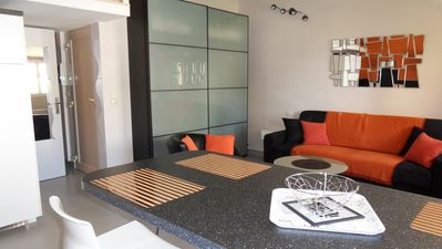 Photo for Sainte Maxime: contemporary new development 3 people view sea downtown ste-maxime
